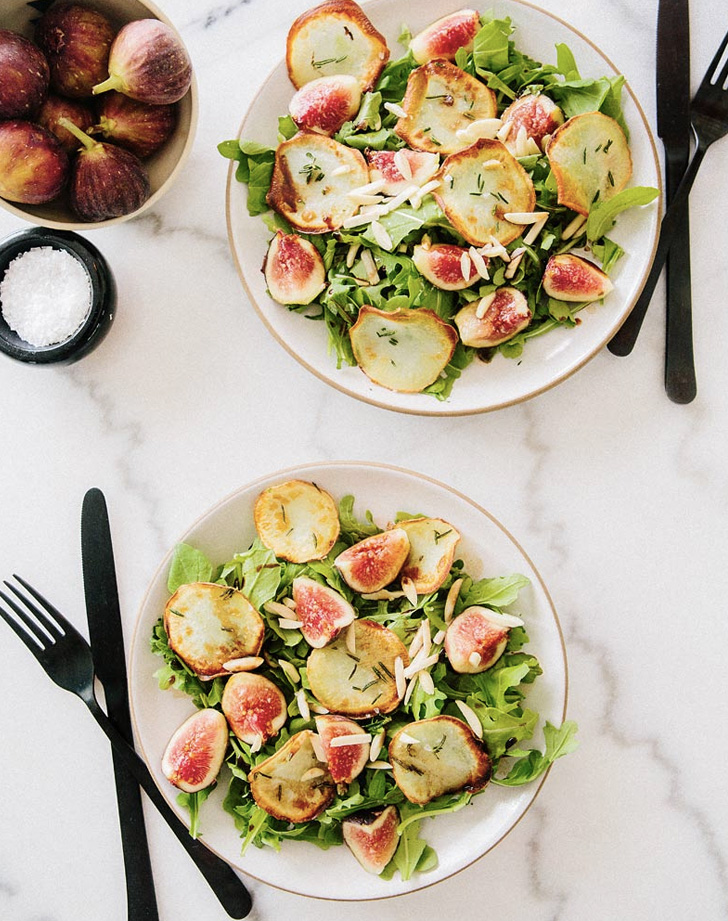 arugula fig and fried white sweet potato salad recipe