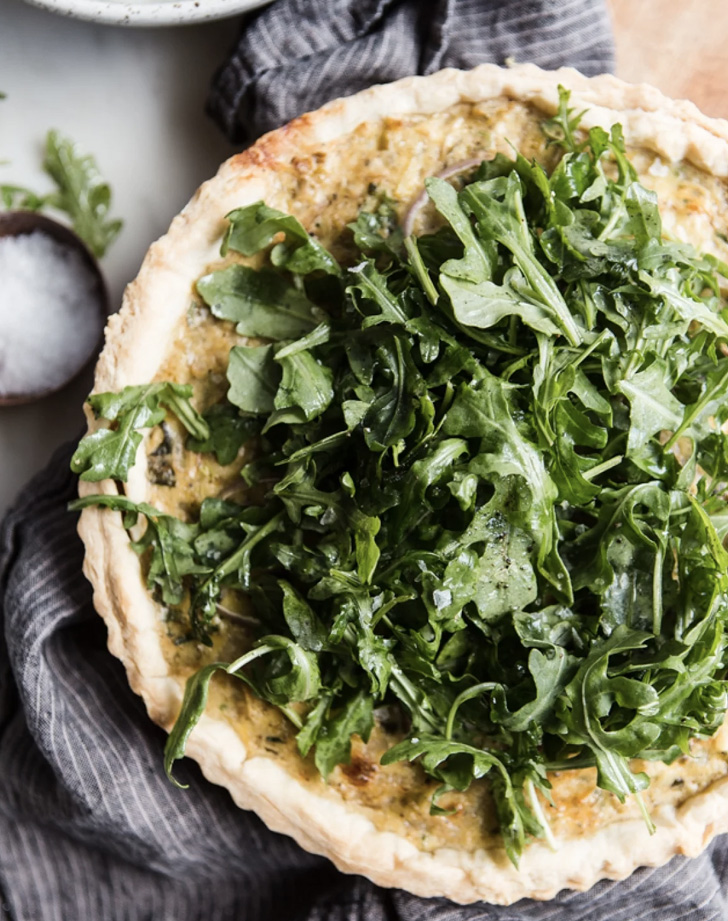 five onion tart with arugula salad recipe