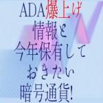 【仮想通貨】ADA爆上げ情報と今年保有しておきたい暗号通貨!