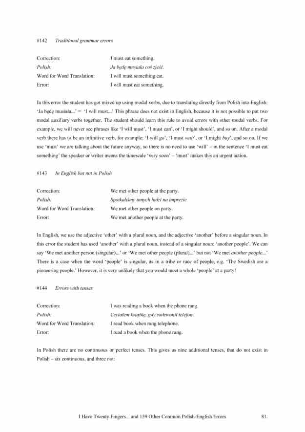 I Have Twenty Fingers: ...and 159 other common Polish-English Errors, by Matt Purland - sample page 2