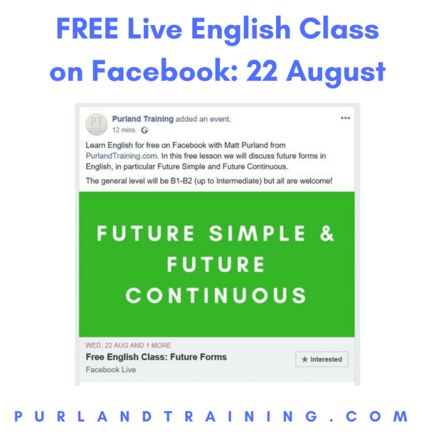 Join us for a FREE Live English Class on Facebook 22/08