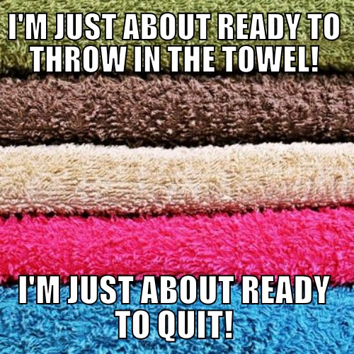 To throw in the towel = To quit
