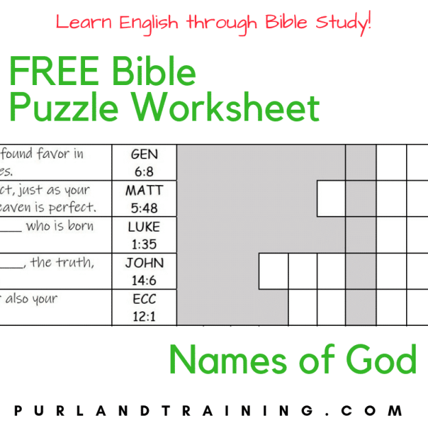 FREE Bible Puzzle Worksheet - Names of God