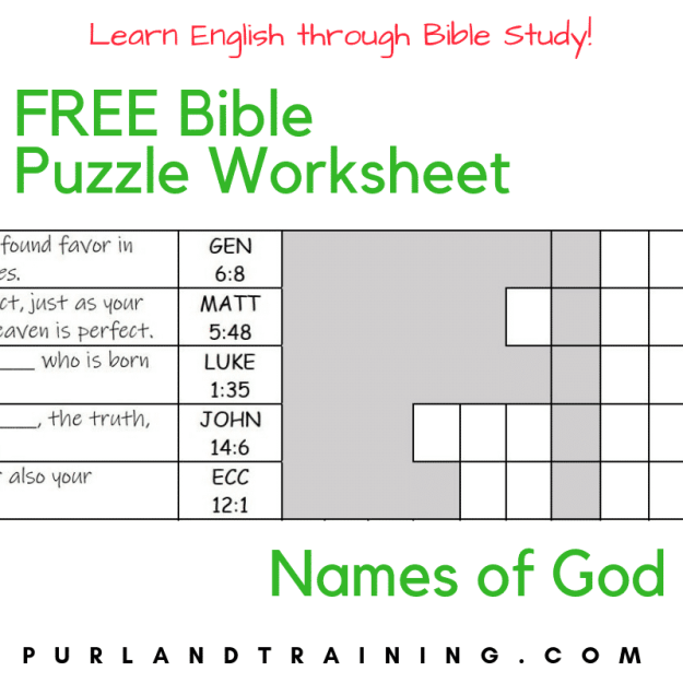 FREE Bible Puzzle Worksheet - Names of God | Purland Training
