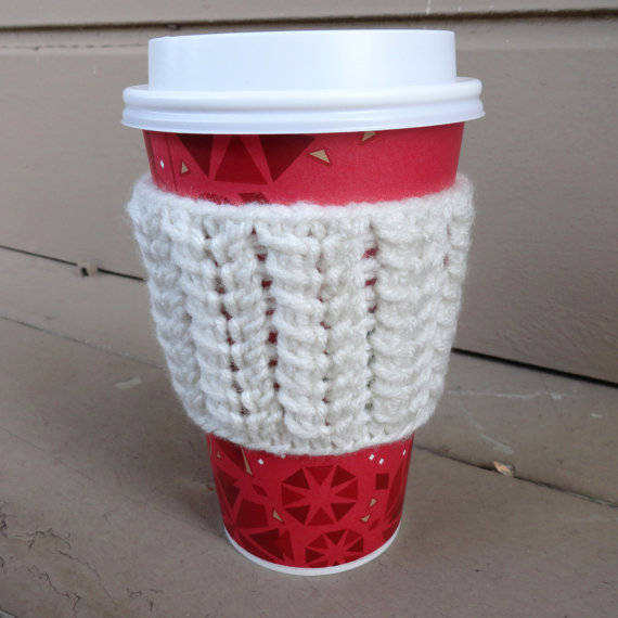 Spine Stitch Coffee Cup Sleeve white