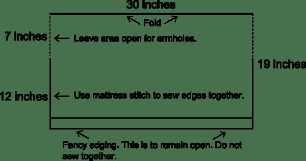 Simple Knit Shrug Diagram