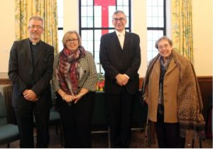 Mr John Ellis (URC Moderator) with Russell (left), Nicola and Daphne
