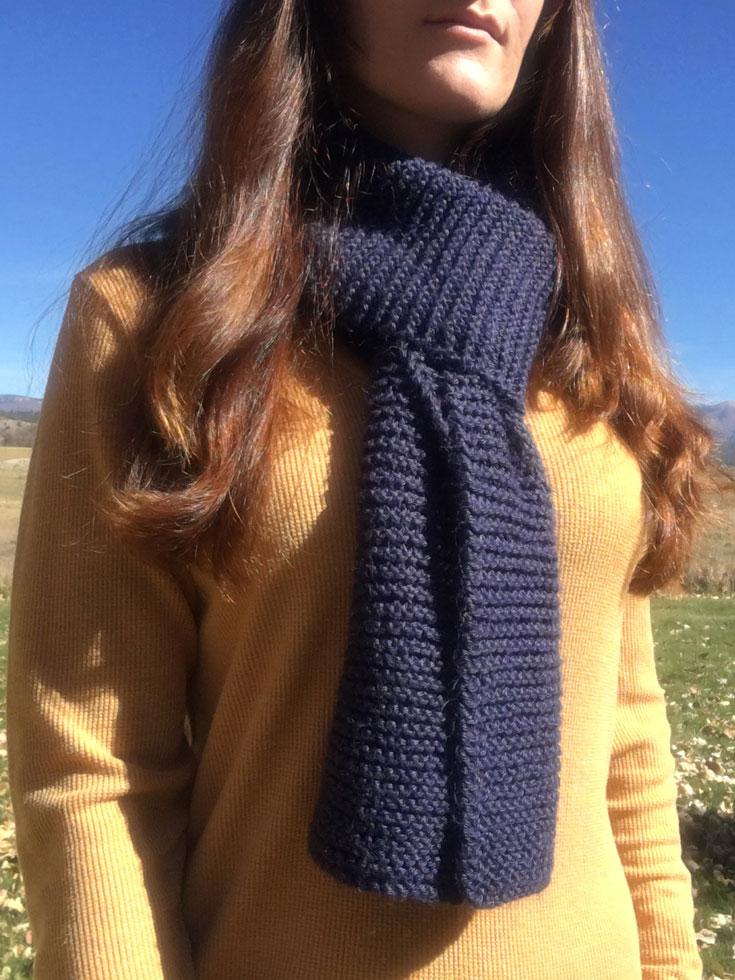 Free Beginner Knit Scarf Pattern in Garter Stitch from Liz @PurlsAndPixels.