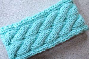Aqua cable knit ear warmer handmade by PurlsAndPixels