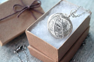 Silver yarn necklace, gift for knitter handmade by PurlsAndPixels