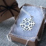 Long silver snowlfake necklace, jewelry gift inspired by Princess Elsa in Frozen
