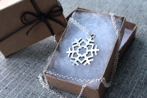 Long silver snowlfake necklace, gift inspired by Princess Elsa in Frozen
