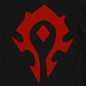 Horde symbol knitting chart inspired by World of Warcraft, by PurlsAndPixels