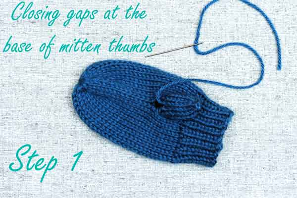 Closing the thumb gap after knitting mittens, finishing steps guide by PurlsAndPixels