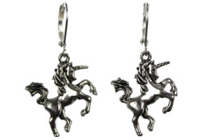 Silver unicorn earrings photograph by Liz @PurlsAndPixels