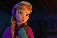 Anna's blue snowflake mittens in the Disney move Frozen.