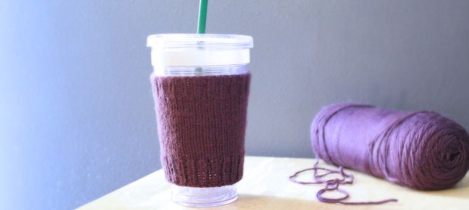 Simple Coffee Cozy Easy Free Knitting Pattern