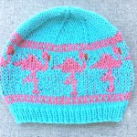 Pink flamingo beanie knitting pattern for child and adult sizes from Liz @PurlsAndPixels