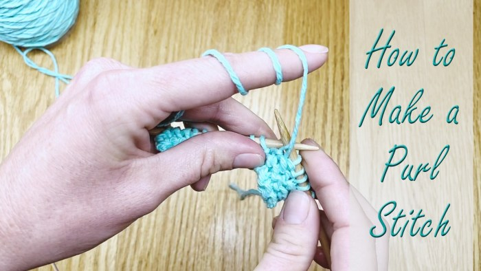 Learn how to make the purl stitch, a knitting lesson from Liz @PurlsAndPixels.