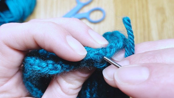 Step 9: Weave in cast on tail for round knitting projects - a lesson with Liz Chandler @PurlsAndPixels.