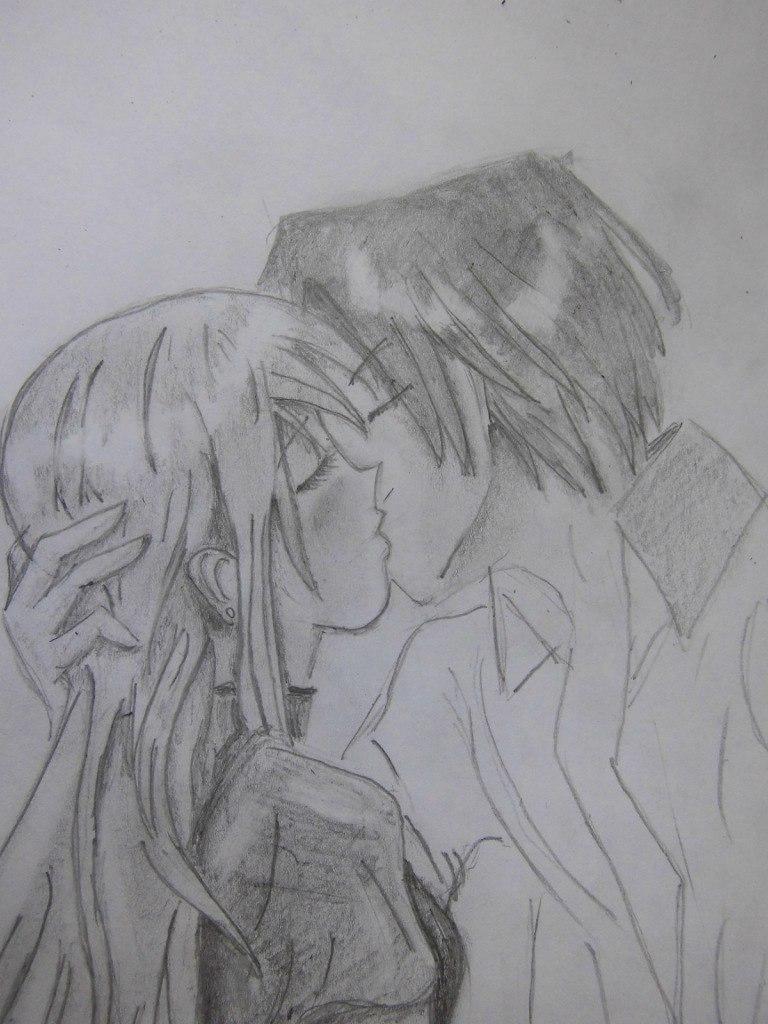 urok_risovanie_karandashom_celuyushhiesya_anime_pary-step-10 Как нарисовать пару из Вокалоидов карандашом поэтапно