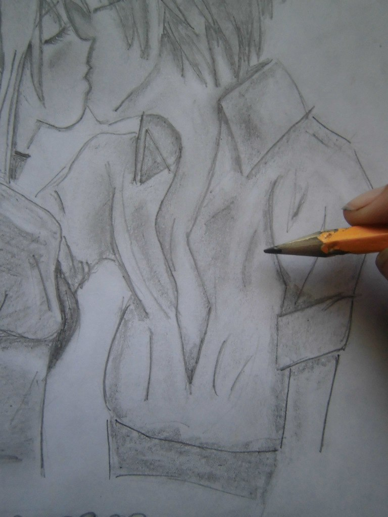 urok_risovanie_karandashom_celuyushhiesya_anime_pary-step-11 Как нарисовать пару из Вокалоидов карандашом поэтапно