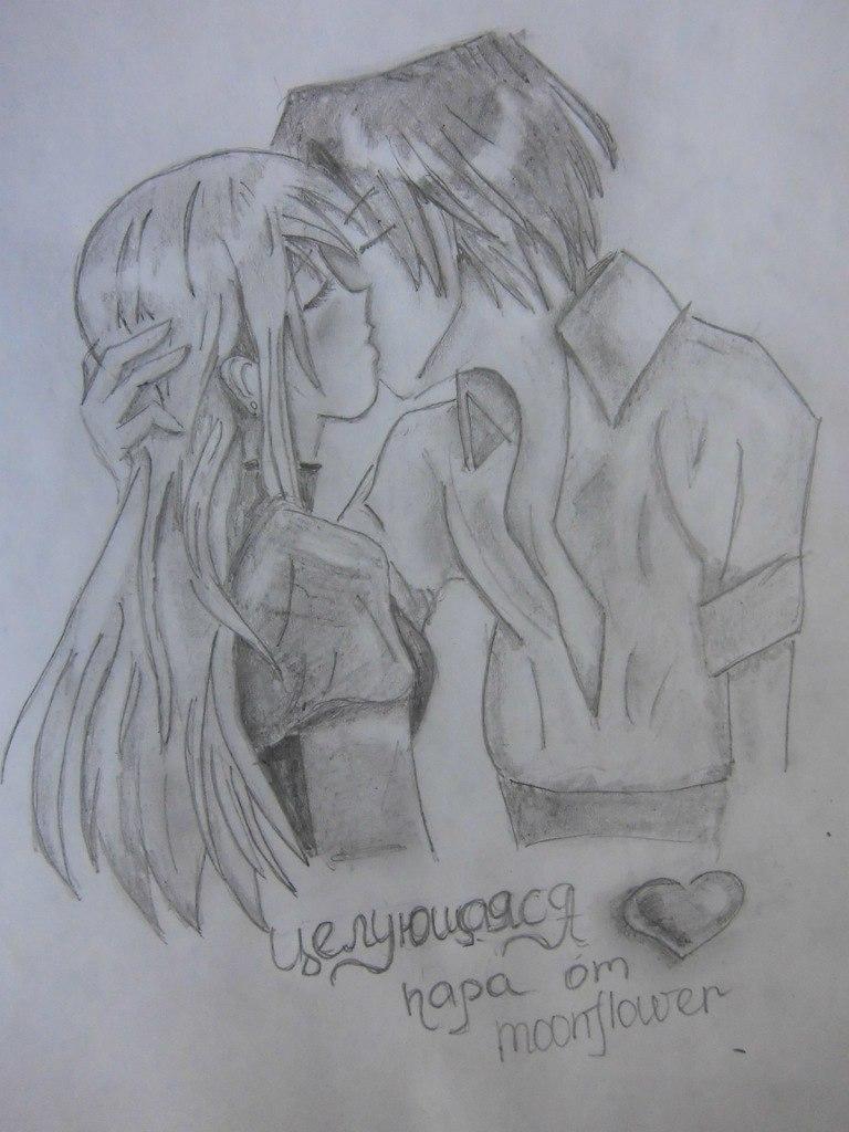 urok_risovanie_karandashom_celuyushhiesya_anime_pary-step-13 Как нарисовать пару из Вокалоидов карандашом поэтапно