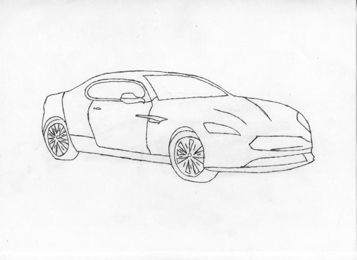 Как нарисовать машину Aston Martin карандашами поэтапно