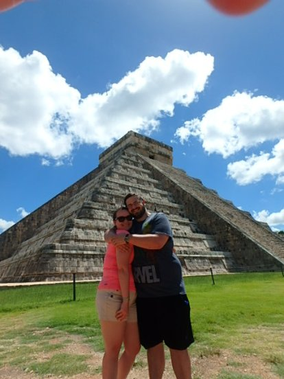 Z. and I in front of El Castillo
