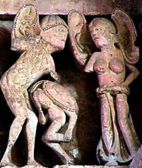 Pruebas de la llegada a América de los Templarios: orejones en la iglesia de Vézelay.