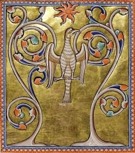 leyenda del Ave Fénix - representación del Bestiario de Aberdeen