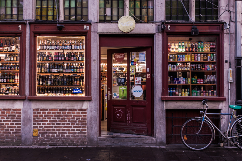 The wide variety of Belgian beer in Ghent - opposite the beautiful Gravensteen castle