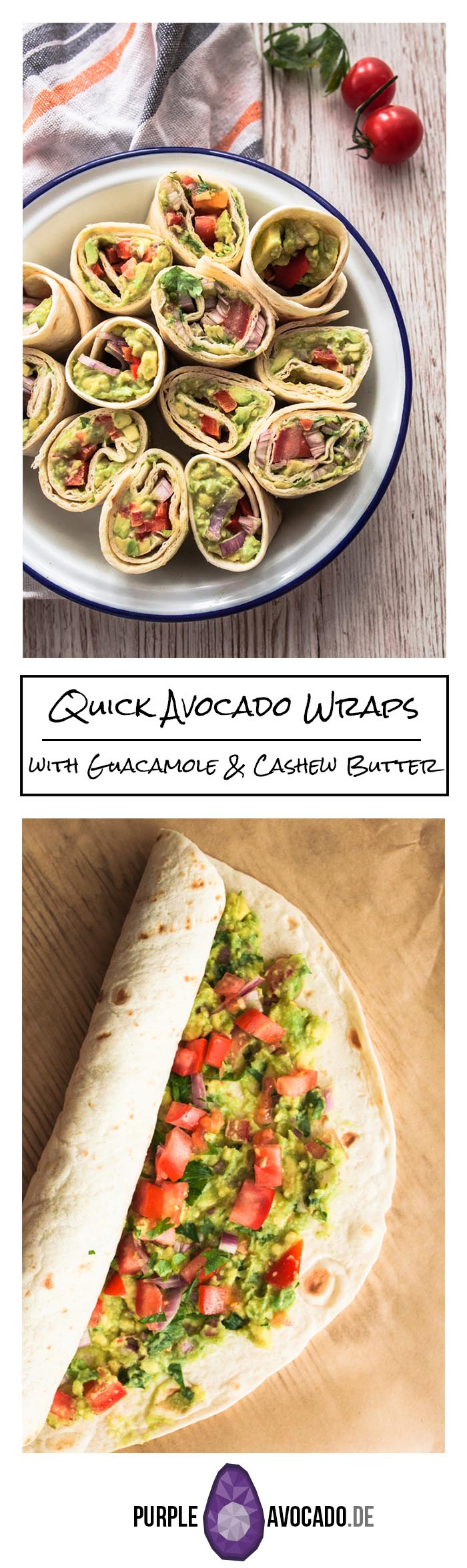 If you're in a rush and need some delicious food for your next picknick, road trip, fingerfood or binge watching evening: Quick avocado wraps with two variations - with guacamole and cashew butter. Uncomplicated and delicious! Recipe and Foodstyling by Purple Avocado / Sabrina Dietz