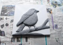 """""""Robin"""" 3D Acrylic Painting - The Painting Stage start. Once the modroc had dried and I'd sanded/ fixed any bits that needed fixing I could then start painting. I like to use one midish tone colour to start with just to cover the modroc then I can start painting properly once there's no white bits of modroc showing through."""