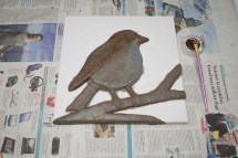 """""""Robin"""" 3D Acrylic Painting - The Painting Stage continued. Using more robin like browns to introduce some shadow."""