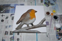 """""""Robin"""" 3D Acrylic Painting - The Painting Stage continued. Once i'd started with the brown the rest of the colours came out and it started to look more like a robin."""
