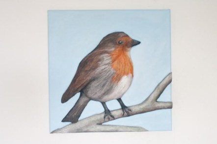 """""""Robin"""" 3D Acrylic Painting - Finished. Once the paint had dried I gave it a couple of coats of varnish and then it was all ready to be photographed for the greetings cards and available for sale."""