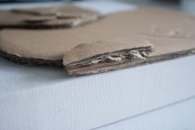 Close up of the cardboard stage of the Damien 3D Acrylic Painting to show the layers