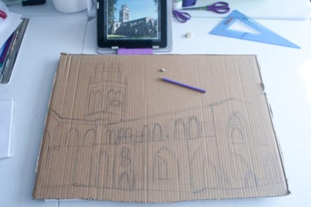 "Here's the drawing stage of the ""All Saints Church"" 3D Acrylic Painting. It's important to take the time to get this right, making sure everything is in proportion etc at this stage as it's difficult to change once it gets cut out."