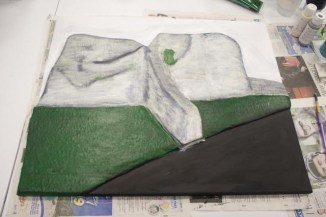 "Painting some green on the ""Pontefract Castle"" 3D Acrylic Painting by Purple Faye"