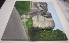 "Right side view of the finished ""Pontefract Castle"" 3D Acrylic Painting by Purple Faye"