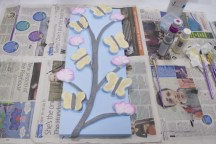 Starting to paint the tree of the 3D Acrylic Painting that I made for my mum, I decided to stick with the pale colours for all the elements as I felt that the lighter colours would better compliment each other against the darker blue of the wallpaper on the wall it is going on.