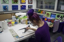 "Me (Purple Faye) painting the base coat on the ""Spitfire MK VB"" 3D Acrylic Painting in my Pontefract studio"