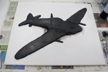 "Base coat painted on the ""Spitfire MK VB"" 3D Acrylic Painting"