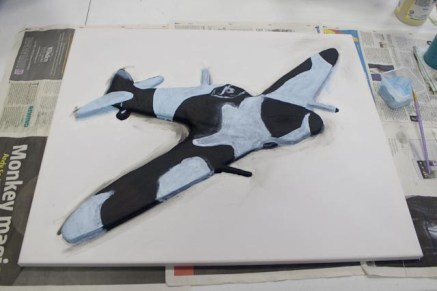 "Starting to paint in the marking on the ""Spitfire MK VB"" 3D Acrylic Painting"