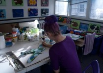 "Me (Purple Faye) painting more details on the ""Spitfire MK VB"" 3D Acrylic Painting in my Pontefract studio"