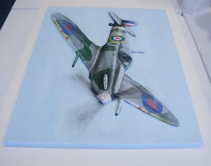 "Side view of the finished ""Spitfire MK VB"" 3D Acrylic Painting by Purple Faye"
