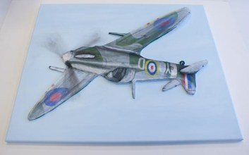 "Upside down view of the finished ""Spitfire MK VB"" 3D Acrylic Painting by Purple Faye"