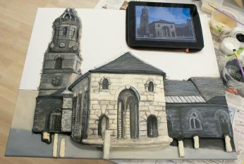 "Finishing painting the details on the St Giles Church part of the Pontefract ""Buttercross and St Giles Church"" 3D Acrylic Painting."
