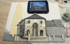 "Starting to add details to the main body of the St Giles Church part of the Pontefract ""Buttercross and St Giles Church"" 3D Acrylic Painting"